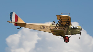 A scratch-built Curtiss JN-4 Jenny in flight.